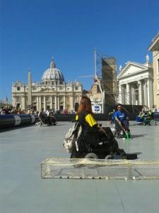 I nostri atleti durante la dimostrazione in Vaticano